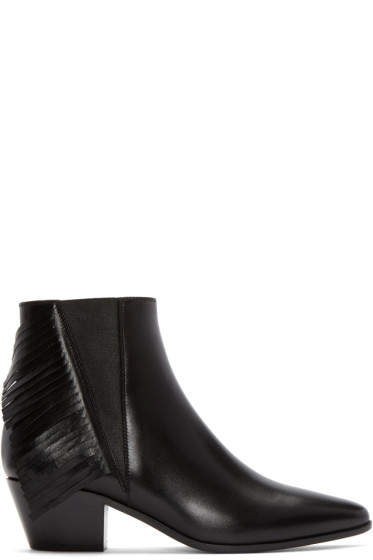 Saint Laurent - Black Fringed Wyatt Ankle Boots
