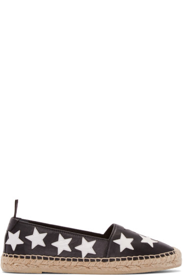 Saint Laurent - Black Leather Stars Espadrilles