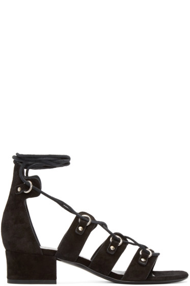 Saint Laurent - Black Suede Babies Short Gladiator Sandals
