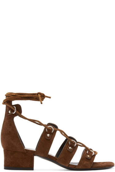 Saint Laurent - Brown Suede Short Babies Gladiator Sandals