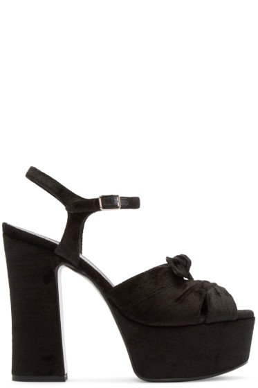 Saint Laurent - Black Velour Candy Sandals