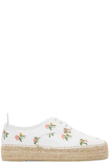 Saint Laurent - White Leather Floral Epadrilles