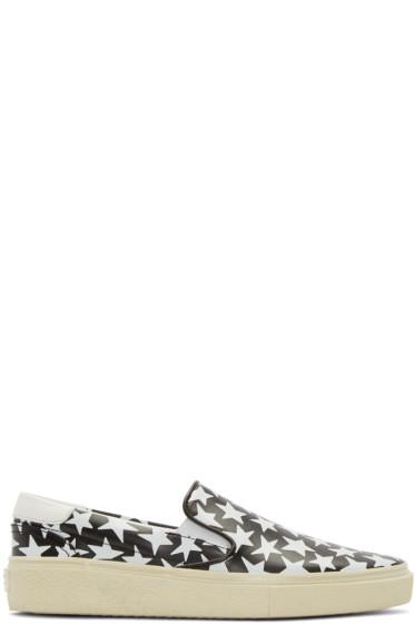 Saint Laurent - Black & White Leather Stars Sneakers