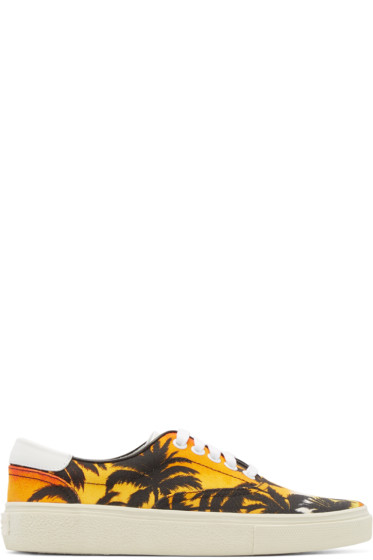 Saint Laurent - Multicolor Canvas Palm Tree Low-Top Sneakers