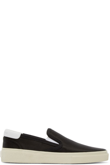 Saint Laurent - Black Satin Skate Slip-On Sneakers