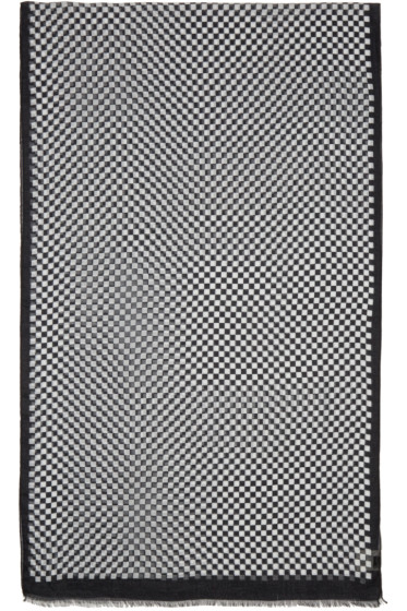 Saint Laurent - Black & White Damier Scarf