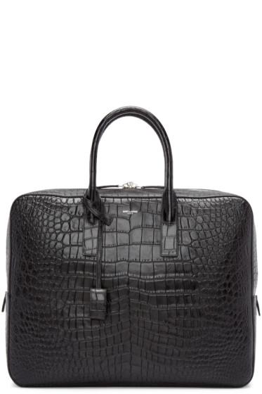 Saint Laurent - Black Croc-Embossed Briefcase