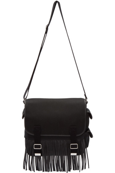 Saint Laurent - Black Canvas Fringed Army Messenger Bag