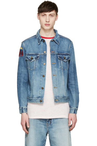 Saint Laurent - Blue Denim Patch Jacket