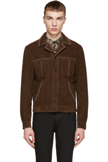 Saint Laurent - Brown Studded Suede Jacket