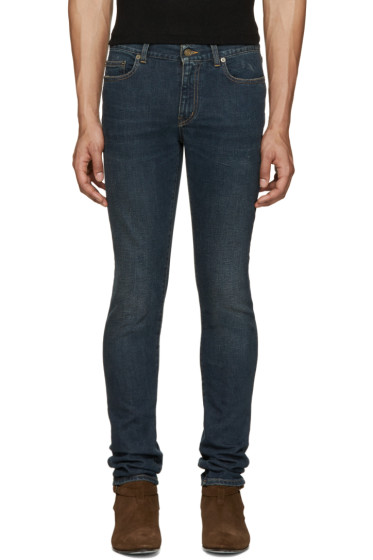 Saint Laurent - Navy Dirty Skinny Jeans