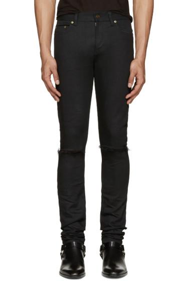 Saint Laurent - Black Skinny Distressed Jeans