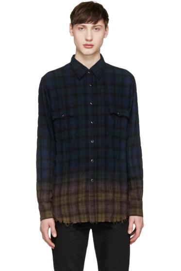 Saint Laurent - Navy & Green Ombré Check Shirt