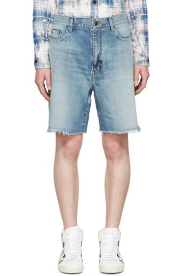 Saint Laurent - Blue Denim Oversized Shorts