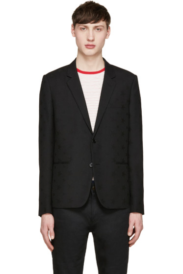 Saint Laurent - Black Jacquard Stars Blazer