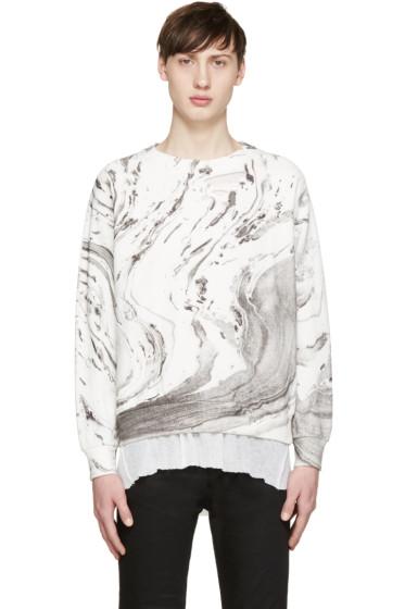 Saint Laurent - White & Grey Marble Sweatshirt