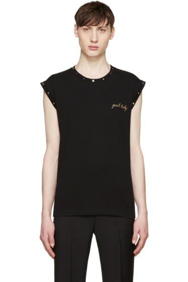 Saint Laurent - Black Studded 'Yeah Baby' T-Shirt