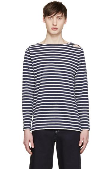 Saint Laurent - Navy & White Destroyed T-Shirt