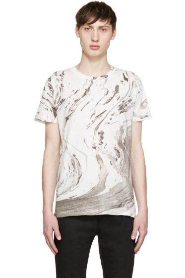 Saint Laurent - White & Grey Marble T-Shirt