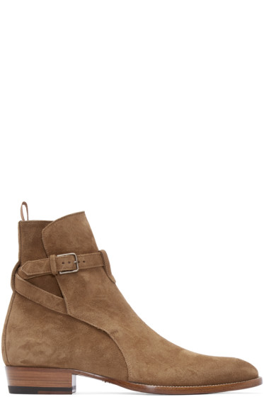 Saint Laurent - Tan Suede Strapped Hedi Boots