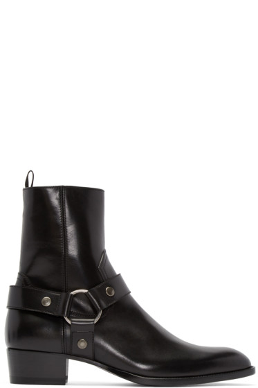 Saint Laurent - Black Leather Wyatt Boots