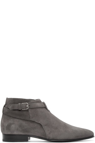 Saint Laurent - Grey Suede London Boots