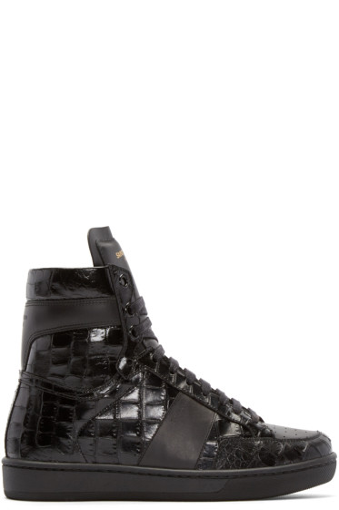 Saint Laurent - Black Croc-Embossed Court Classic Sneakers