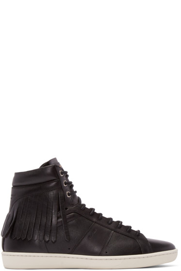 Saint Laurent - Black Fringed Court Classic High-Top Sneakers