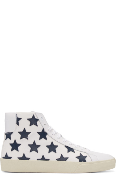 Saint Laurent - White Stars Court Classic High-Top Sneakers