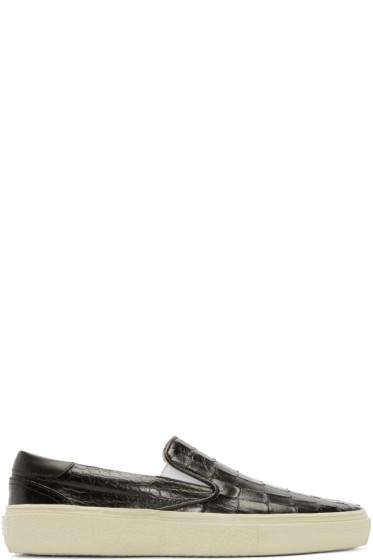 Saint Laurent - Black Croc-Embossed Slip-On Sneakers