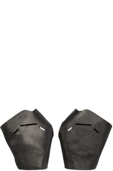 Julius - Black Leather Fingerless Gloves