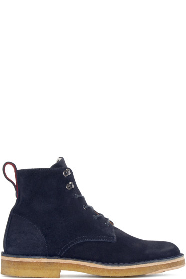 PS by Paul Smith - Navy Suede Echo Ankle Boots