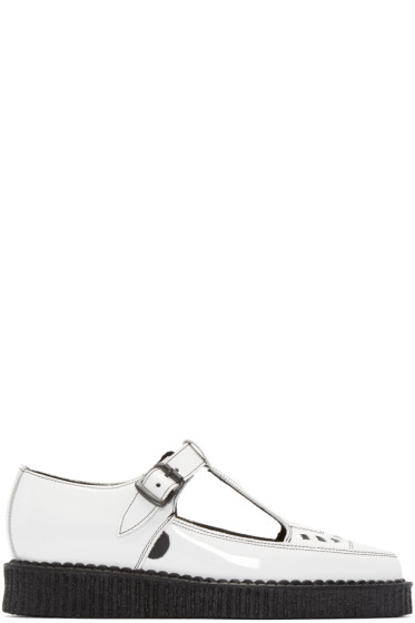 Underground - White Patent Leather T-Bar Creepers