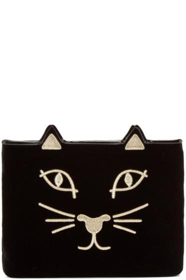 Charlotte Olympia - Black Velvet Kitty Pouch