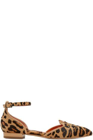 Charlotte Olympia - Tan Calf-Hair Kitty Flats