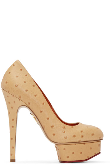 Charlotte Olympia - Tan Ostrich-Embossed Dolly Heels
