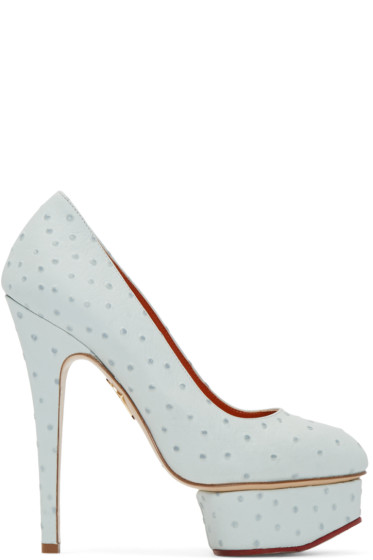 Charlotte Olympia - Blue Ostrich-Embossed Dolly Heels