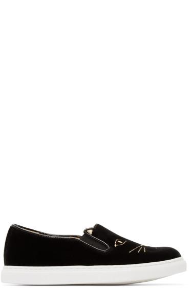 Charlotte Olympia - Black Velvet Kitty Slip-on Sneakers