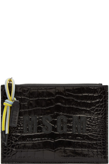 MSGM - Black Croc-Embossed Leather Pouch