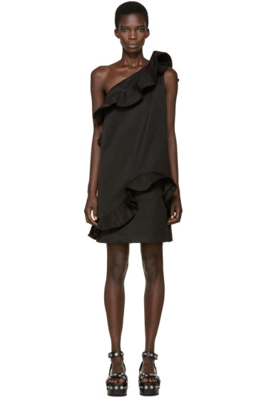 MSGM - Black Ruffled Single-Shoulder Dress