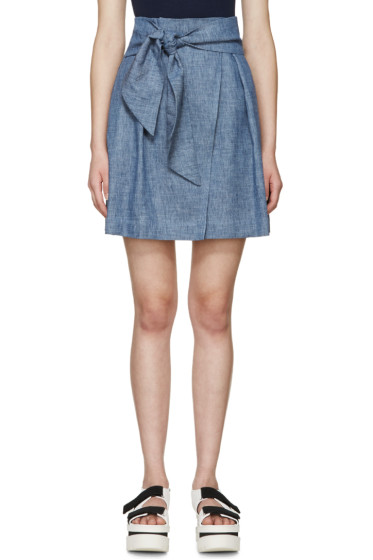 MSGM - Blue Chambray Tie-Front Skirt