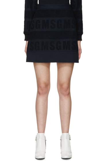 MSGM - Navy Logo Terrycloth Skirt