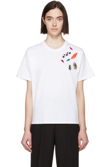 MSGM - White Stone Embellished T-Shirt