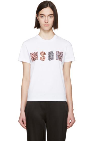 MSGM - White Beaded Logo T-Shirt