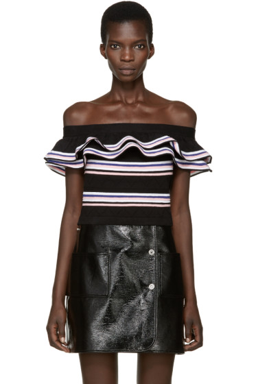 MSGM - Black Ruffled Off-the-Shoulder Top