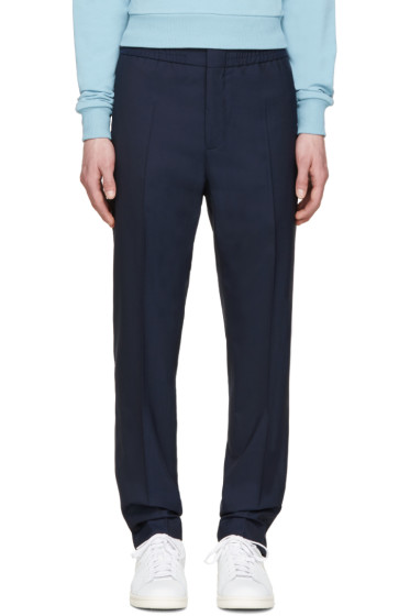MSGM - Navy Wool Easy Trousers