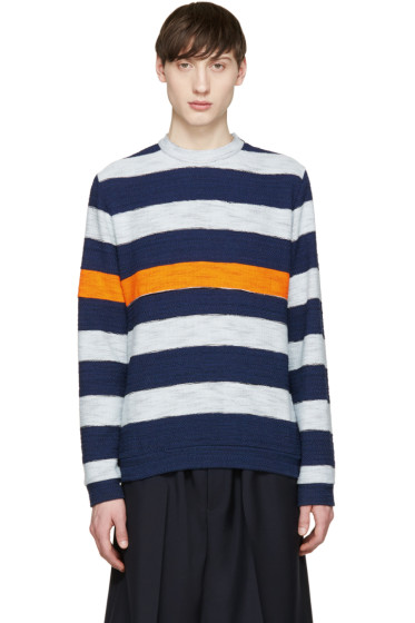 MSGM - Navy & Orange Bold Stripe Pullover