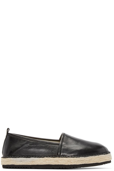 MSGM - Black Leather Espadrilles