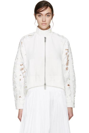 Sacai - White Lily Lace Zip-Up Sweater