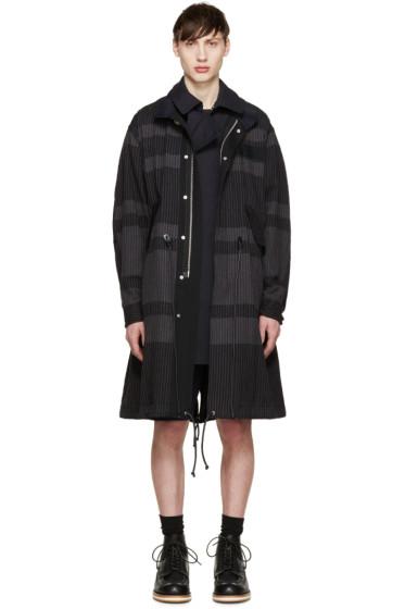 Sacai - Grey Layered Striped Coat